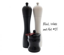 WauWau pepper grinder, salt grinder and chili grinder set
