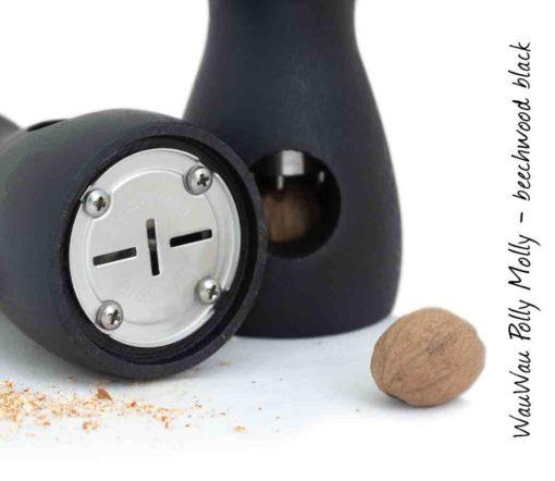 WauWau Muskatmühle Polly Molly Buche schwarz gebeizt Mahlwerk