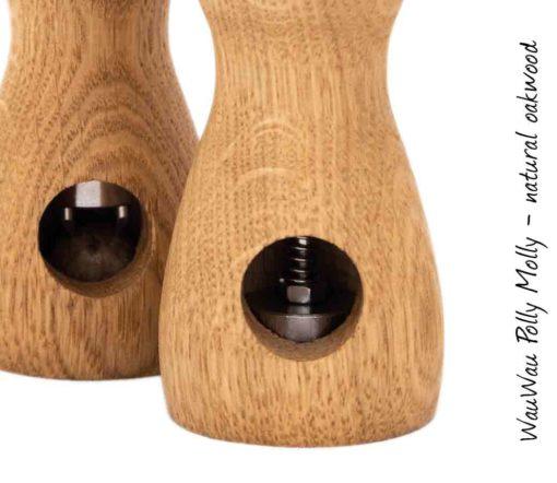 WauWau Muskatmühle Polly Molly Eiche natur: mit/ohne Nuss Detail