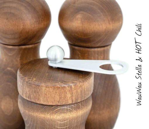 WauWau Mühlenset Stella & Hot Chili silber. Chilimühle Detail