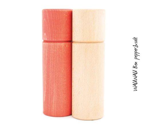 WauWau Ben Vintage Look rot/ Buche natur Mühlenset
