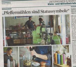 WauWau Pfeffermühlen im Wirtschaftsblatt Juni 2016